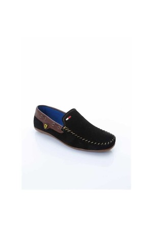 Shoes&Moda Siyah-Kahverengi Nubuk Deri Ayakkabı 509-6-Ab141gh62
