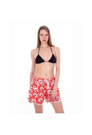 Ayyıldız 67804 Kırmızı Beyaz Desenli Bayan Plaj Şortu