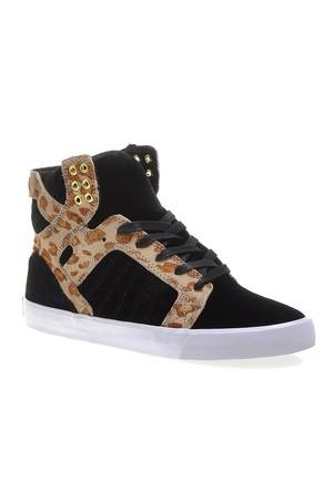 Supra Corner Womens Skytop Sw18025 Kadın Ayakkabı Black Cheetah Whıte