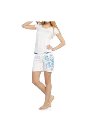 Bayan Şort - Sport - 11607 - Beyaz