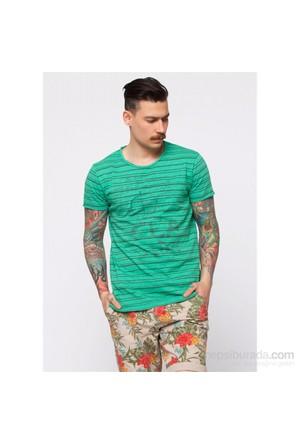 Cazador Nil Yeşili Erkek Çizgili Baskılı T-Shirt