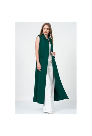 İroni Blazer Yaka Uzun Yeşil Yelek