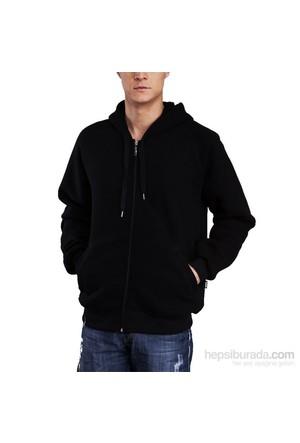 Köstebek Düz Siyah Fermuarlı Erkek Sweatshirt