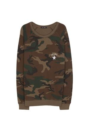 My T-Shirt Kamuflaj Desenli Basic Sweatshirt