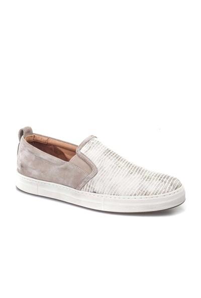 Cabani Desenli Sneaker Erkek Ayakkabı Bej Croco Deri