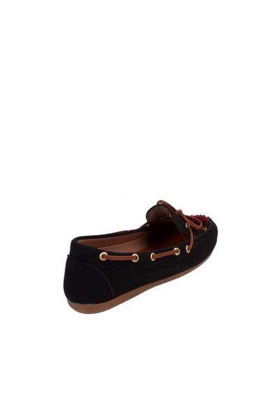 Zerrin Ayakkabı Siyah Nubuk Günlük Biyeli Kadın Ayakkabı - 609994
