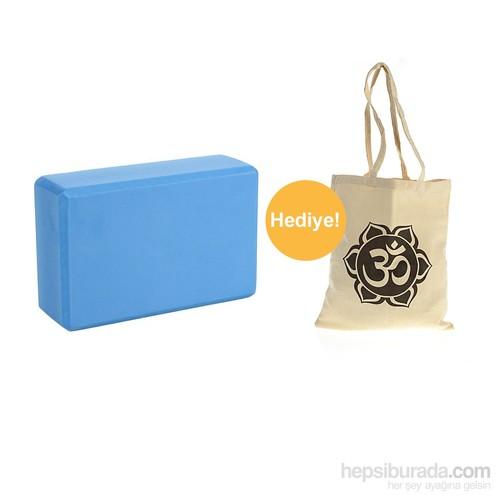 Yoga Mavi Blok Köpük + OM Baskılı Çanta