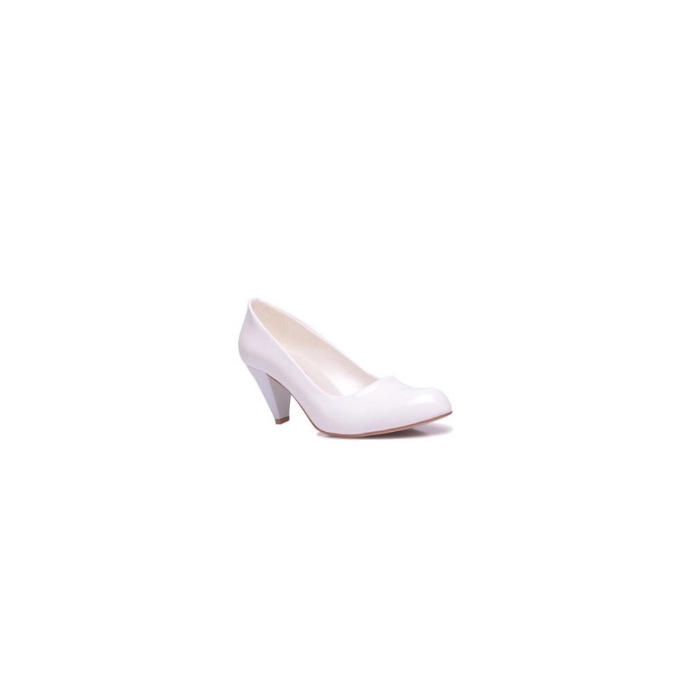 Loggalin 580720 468 Kadın Beyaz Rugan Ayakkabı - 34