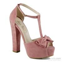 İnce Topuk Kadın Topuklu Ayakkabı Pudra Süet