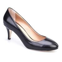 Cabani Kısa Topuklu Günlük Kadın Ayakkabı Siyah Deri