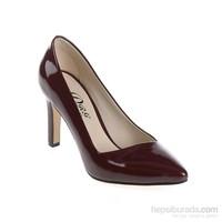 Derigo Kadın Topuklu Ayakkabı Bordo Yılan