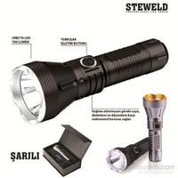 Steweld 608B Pro 700 Lümen Şarjlı Led El Feneri -Siyah