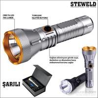 Steweld 608S Pro 700 Lümen Şarjlı Led El Feneri -Gri