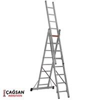 Çağsan 3x8 Basamaklı Üç Parçalı Çok Amaçlı Alüminyum Merdiven