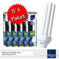 Müller Licht 13W/830 4 pinli Enerji Tasarruflu PLC - 5'li Paket