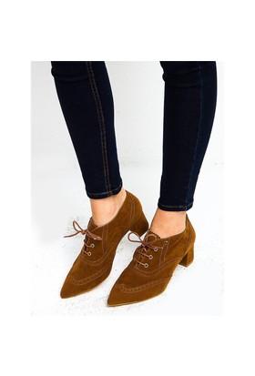 Mecrea Exclusive Raven Taba Süet Düşük Topuklu Ayakkabı Bootie