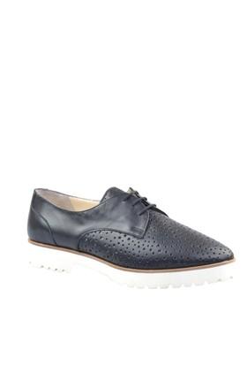 Cabani Yıldız Desenli Günlük Kadın Ayakkabı Siyah Deri