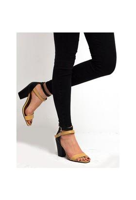 Mecrea Exclusive Elfreda Ten Siyah Kombin Topuklu Sandalet