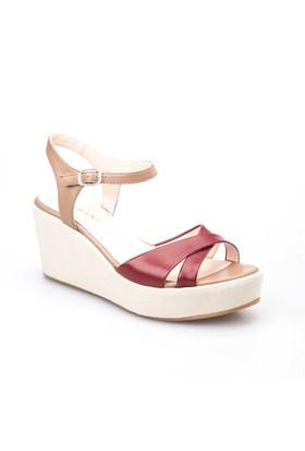 Cabani Dolgu Topuk Günlük Kadın Ayakkabı Bej Deri