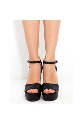 Mecrea Exclusive Gredi Siyah Platform Topuklu Sandalet