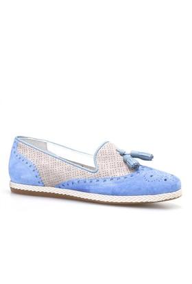 Cabani Püsküllü Kadın Ayakkabı Mavi Süet