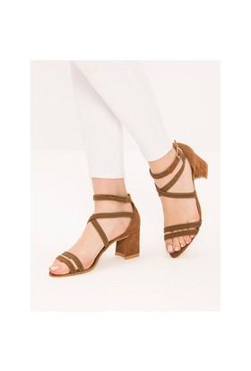 Mecrea Exclusive Gusty Taba Örgü Topuklu Sandalet