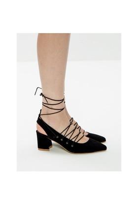 Mecrea Exclusive Paulista Siyah Süet Tasarım Alçak Topuklu Ayakkabı