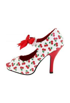 Pleaser Kiraz Desenli Topuklu Ayakkabı