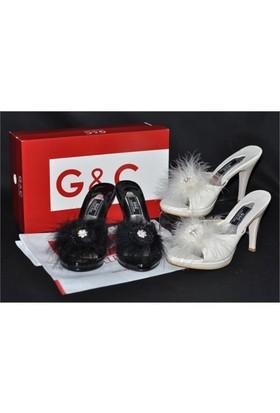 G&C Tüylü Plartform Topuklu Bayan Çeyiz Terlik