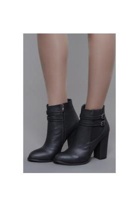 Shoes Time Topuklu Bot Siyah Deri-15K111m