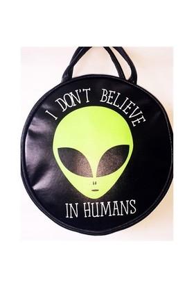 Köstebek Alien - I Don't Believe In Humans Postacı Yuvarlak Çanta Kypç005