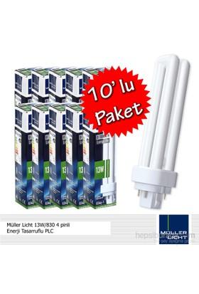 Müller Licht 13W/830 4 pinli Enerji Tasarruflu PLC - 10'lu Paket