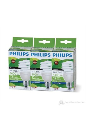 Philips Tornado 3'lü Ekonomik Paket Ampul E27/23W Beyaz Işık