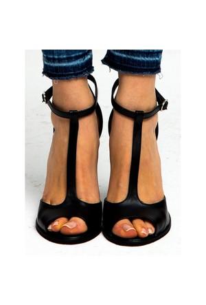 Mecrea Exclusive Jirina Siyah Topuklu Sandalet