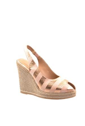 Cabani Ucu Açık Günlük Kadın Ayakkabı Bej Deri