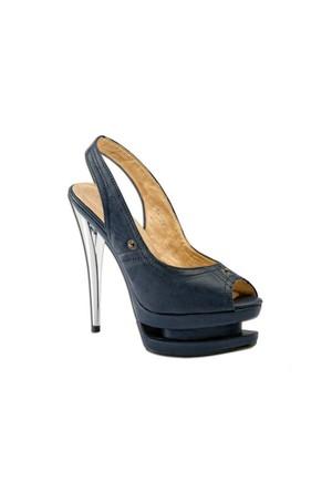 Escarpine Çift Platformlu Lacivert Topuklu Ayakkabı