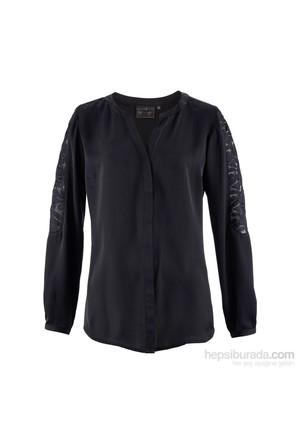 bonprix Siyah Dantel Detaylı Gömlek 34-54 Beden