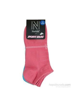 Norfolk Kadın 3'Lü Spor Patik Çorap Fuşya Beyaz Mavi