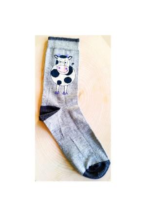 Köstebek İnek Desenli Gri Çorap