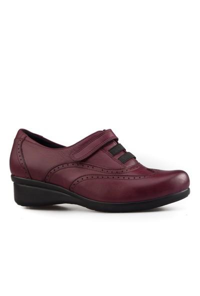 Cabani Dolgu Topuk Günlük Kadın Ayakkabı Bordo Deri