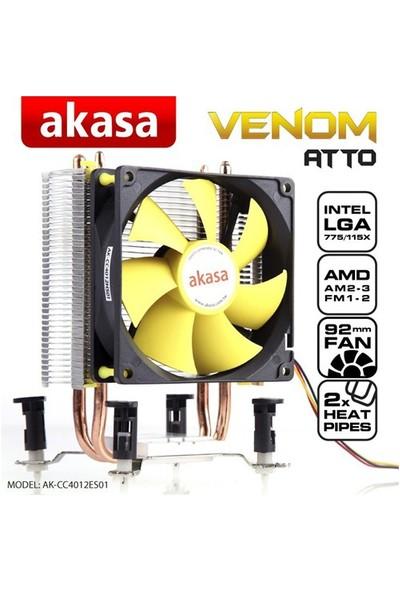 Akasa Venom Atto 775/1155/1156/1150/1151 /AM4 RYZEN /AM2/AM2+/AM3/AM3+ Uyumlu İşlemci Soğutucusu(AK-CC4012ES01)