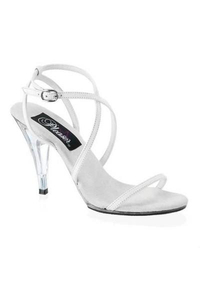 Pleaser Beyaz İnce Bantlı Ayakkabı