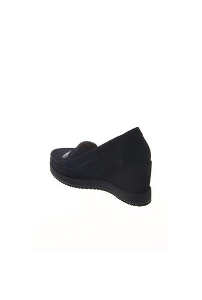 Shoes Time Dolgu Topuk Ayakkabı Siyah Süet 15K390822