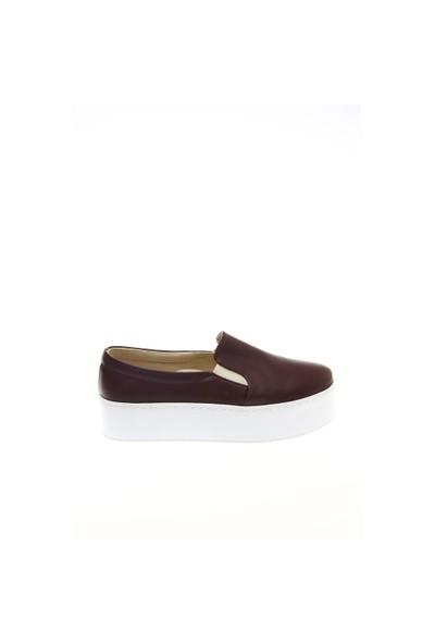 Shoes Time Dolgu Spor Bordo Deri 15K4201