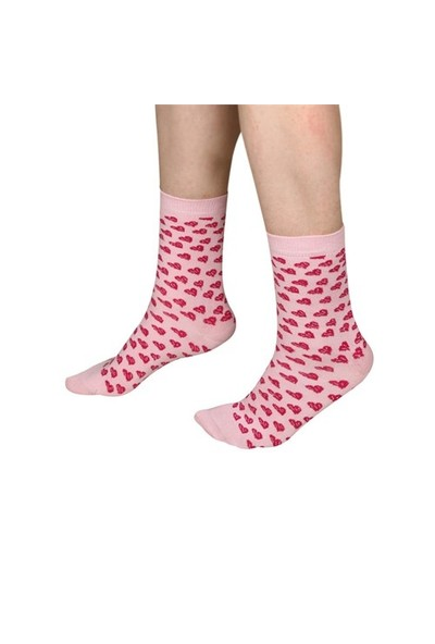 The Socks Company Pink Hearts Desenli Kadın Çorap 36-40 Numara
