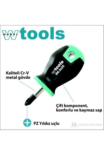 Weber Tools Yıldız Uçlu Topaç Tornavida Pz2 X 25 Mm