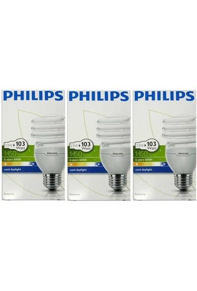 Philips Econtwister 23W E27 Duy Cool Daylight 3'Lü Paket Beyaz Işık