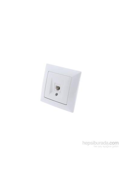 Günsan Visage Beyaz Nümeris Telefon Priz Cat3 Açılı