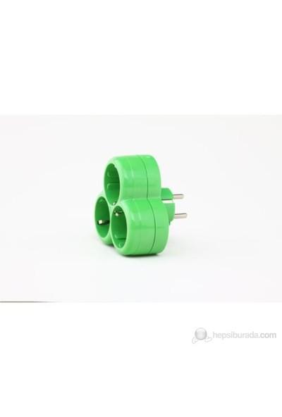 Hakelsan Üçlü Golyat Fişli Priz Yeşil