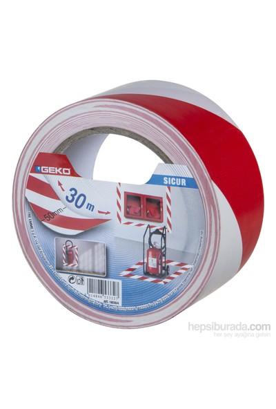 Geko Yer İşaretleme Ve İkaz Bantı Pvc Beyaz/Kırmızı 50Mmx30m Sıcur